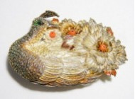 銀製帯留め 精密装飾孔雀文 七宝