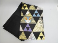 三つ鱗兎絵染袋帯